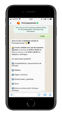 chatbot whatsapp pccomponentes